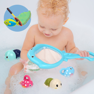 Bath Toys Water Toys with Fishing Game Floating Fish Swimming Tortise for Pool Bathtub Toddler -3