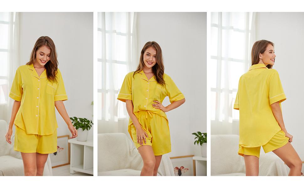 SHEKINI Damen Schlafanzug Kurz Baumwolle Sommer Pyjama Nachtw/äsche Hausanzug Kurzarm Revers und Kn/öpfe