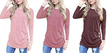 pink light pink burgundy long sleeve shirts for women
