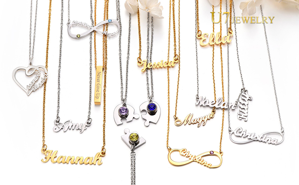 INFINITY NECKLACE WITH NAME PERSONALIZED BEST FRIENDS NAME NECKLACES