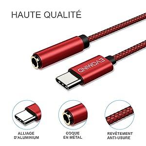 30CM Rouge EVOMIND Adaptateur USB Type C vers Jack 3.5mm Femelle 30CM C/âble Rallonge USB C Adaptateur pour Ecouteurs//Casque Jack 3.5mm Audio Micro pour Huawei P30//20// Mate 20 Xiaomi Mi 9//8SE etc