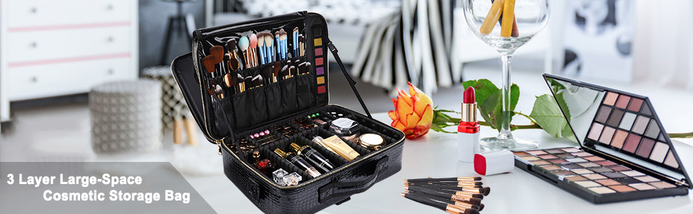 Professional Makeup Train Case Cosmetic Bag Brush Organizer and Storage 16 Travel Make Up Artist Box