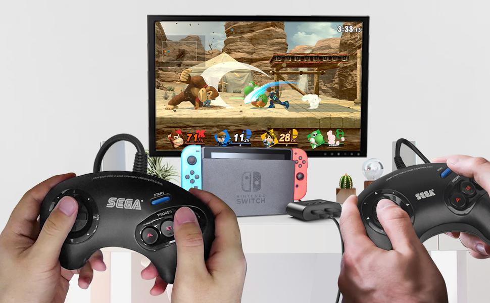SEGA Genesis amp; Mega Drive Controller Adapter for Nintendo Switch, Windows