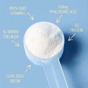 marine collagen biotin hyaluronic acid 100% daily vitamin c protein powder beauty supplement