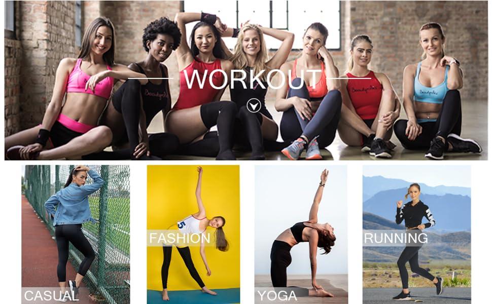 UURUN High Waist Yoga Pants Capri Workout Running Leggings with Pockets - Non-See-Through Fabric 21