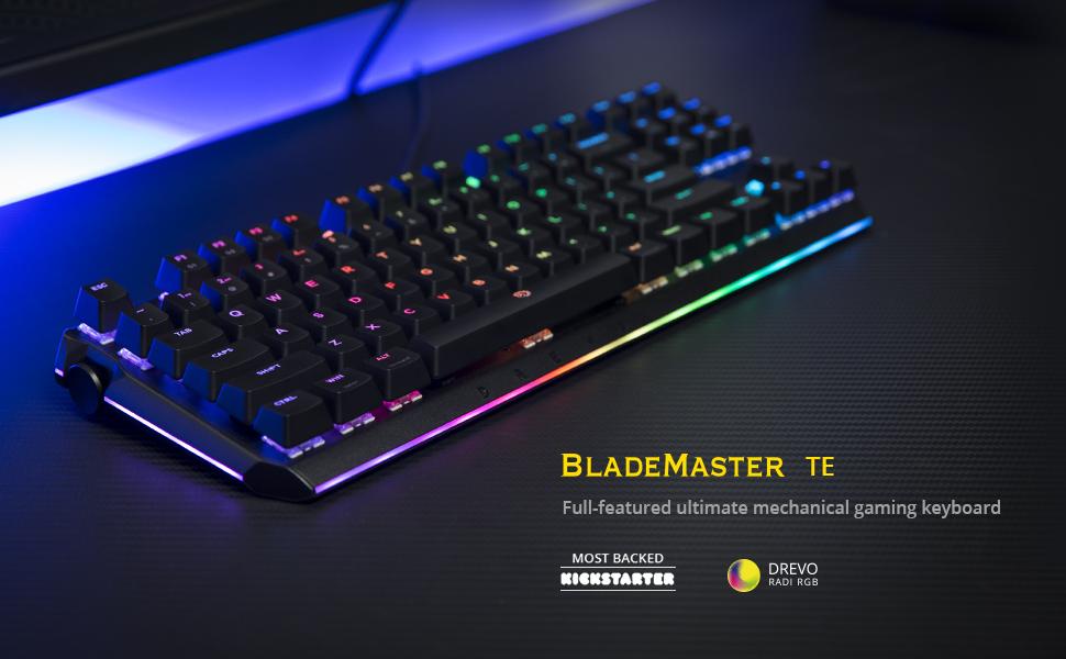 DREVO BladeMaster TE Teclado Mecánico Gaming Radi RGB Retroiluminado, Genius Knob Programable 87K QWERTY US layout[Táctil Tranquilo Gateron ...