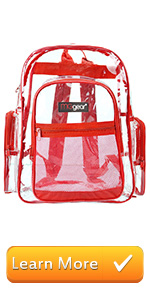 red clear backpack see-thru bag school bags book bag student travel carry on stadium bag outdoor