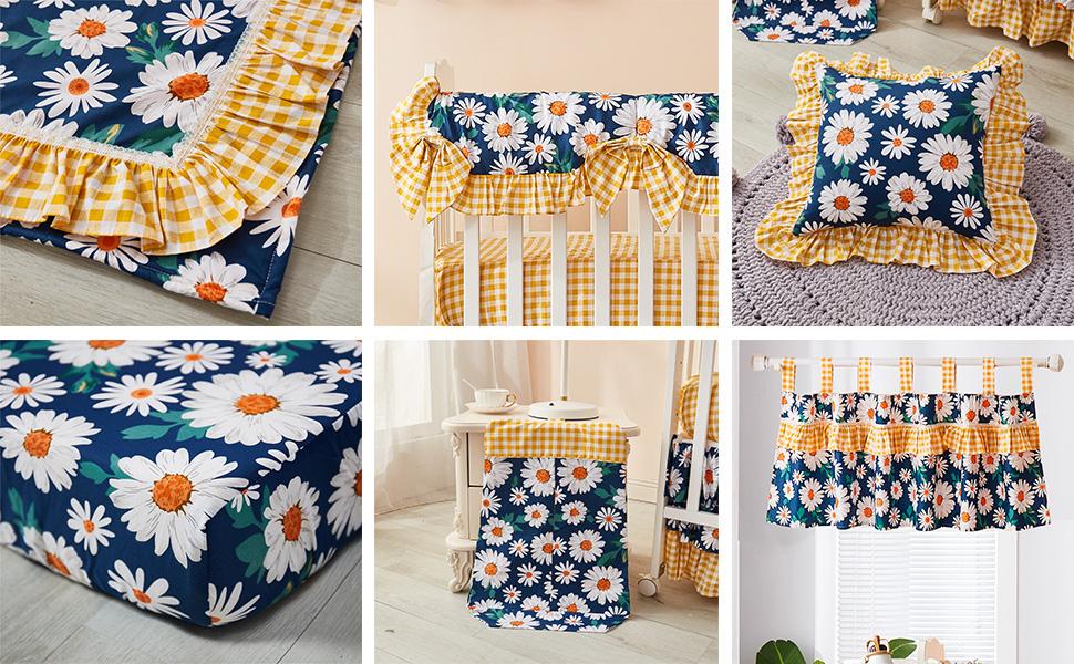 navy blue crib bedding set for girls vintage nursery bedding with daisy sunflowe