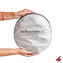 Autoamerics Windshield Sun Shade - 2 Pieces of Foldable Car Front Window Sunshade - Heat Reflector
