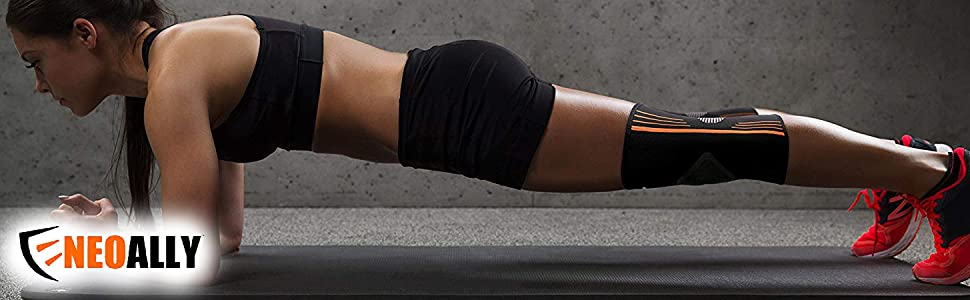 Female athlete working out in NeoAlly High Compression Knee Sleeves