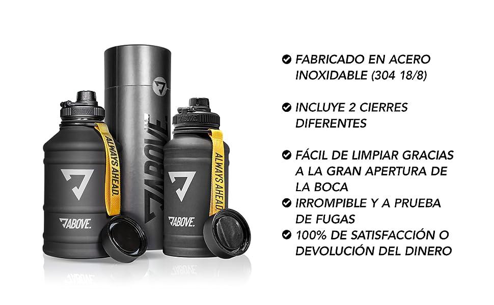 ABOVE. Botella de Acero Inoxidable 1,3-2,2L I con 2 Tapas I Sin BPA I Adecuada para Agua con Gas IA Prueba de Escapes I Cantimplora de 1,3-2,2 litros ...