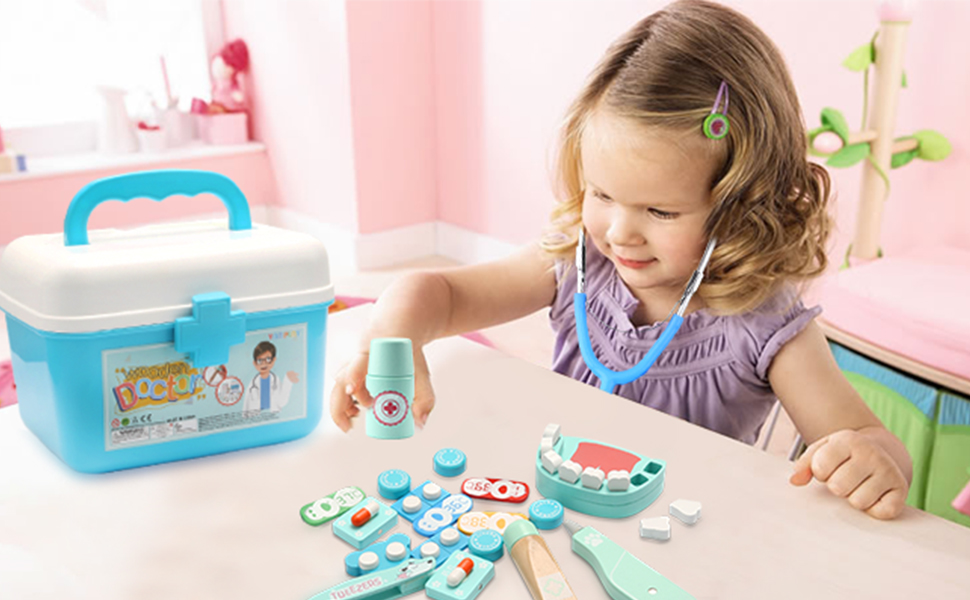 Kids Children Role Play Games Doctor Dentist Nurse Wooden Toy Set Medical Kit LI