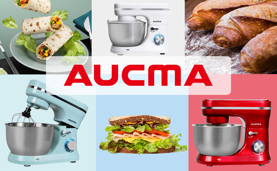 Batidora Amasadora, AUCMA 5,5L Amasadora de Bajo Ruido para Repostería, Robot de Cocina con protección contra salpicaduras,8 niveles de velocidad[Clase de eficiencia energética A+++]: Amazon.es: Hogar