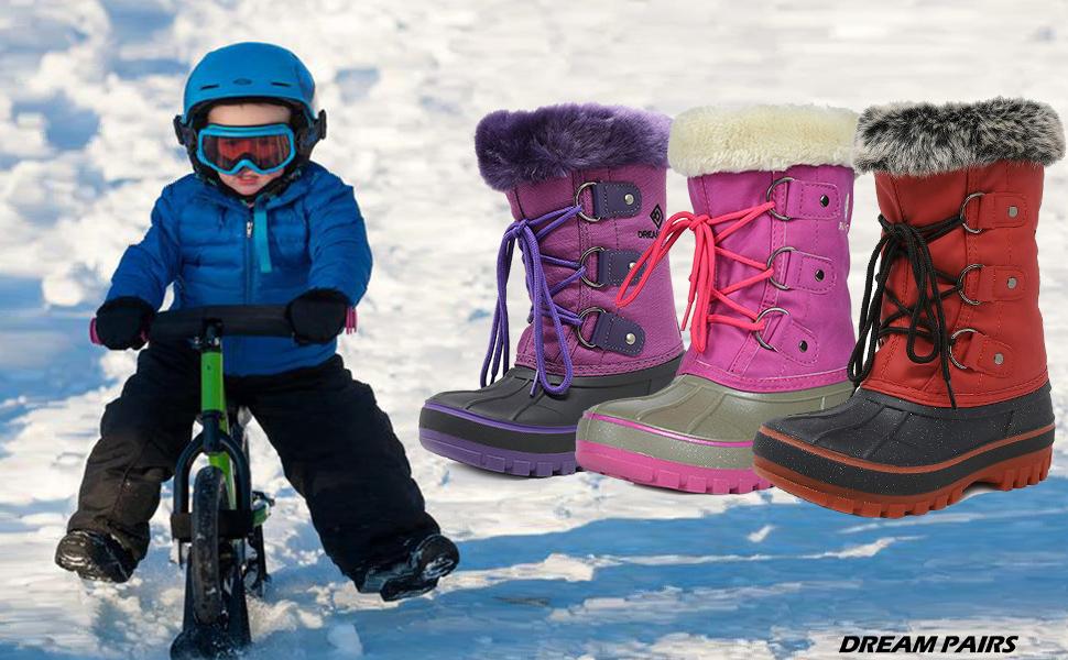 kids snow boots winter fur line snow boots girls boys toddler waterproof cyber wide fall warm