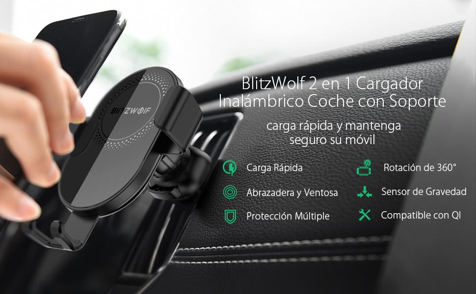 BlitzWolf Cargador Inalámbrico Coche, 10W/7.5W/5W Qi Cargador ...