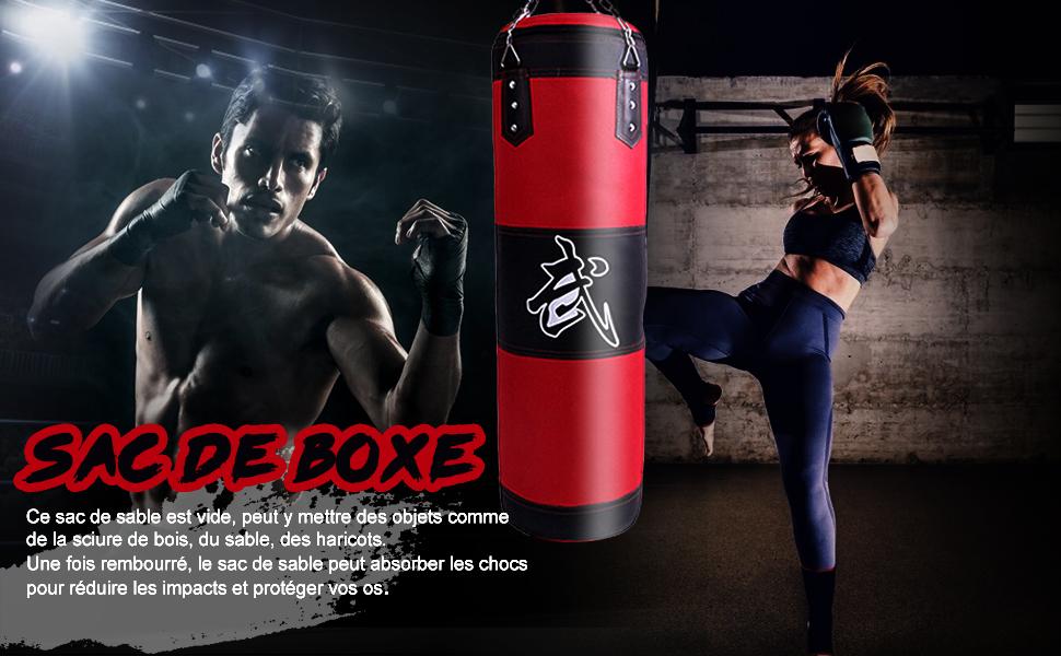 Joyibay Sac de Boxe Cuir cha/îne Suspendue Vide MMA Art Martial Boxe Formation Sac Lourd Sac de Frappe