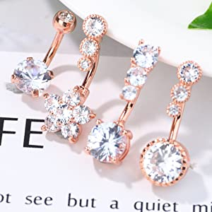 rose gold belly button rings