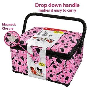 singer sewing basket handle tray storage portable sew