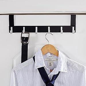 An elegant over the door multi-hook storage rack