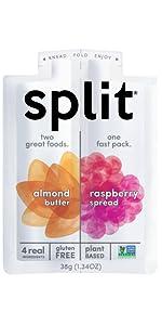 almond butter, raspberry, split, split nutrition, snack, healthy, organic, protein, plant based,