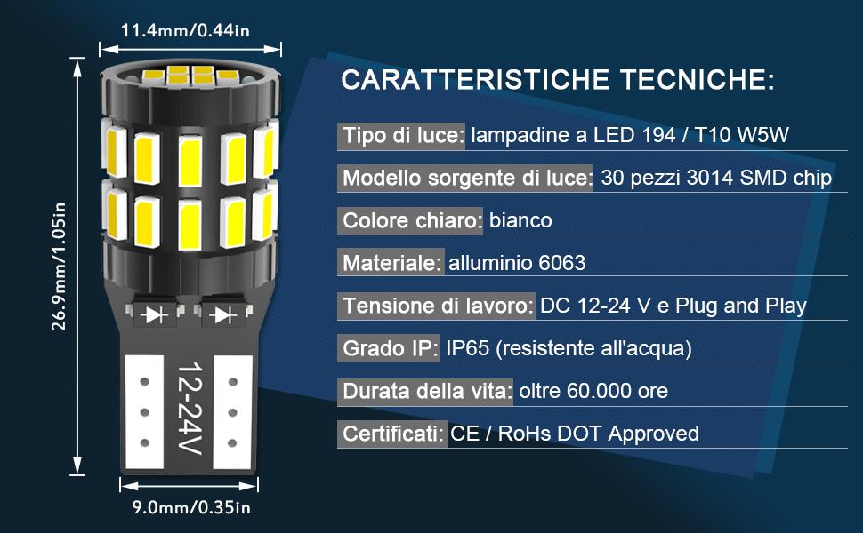 Versione aggiornata KATUR T10 W5W LED 194 168 2825 Lampadina Cuneo LED CANBUS Senza errori Super Luminoso Giallo Ambra 30x3014SMD 12-24V per Luci Car Dome Map Door Luce di cortesia per Targa