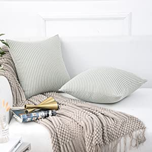 Jepeak Comfy Cotton Striped Throw Pillow Covers Cases