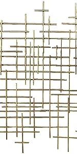 Metal Wall Art Geometric Abstract Modern Cross 37 Inch Light Gold