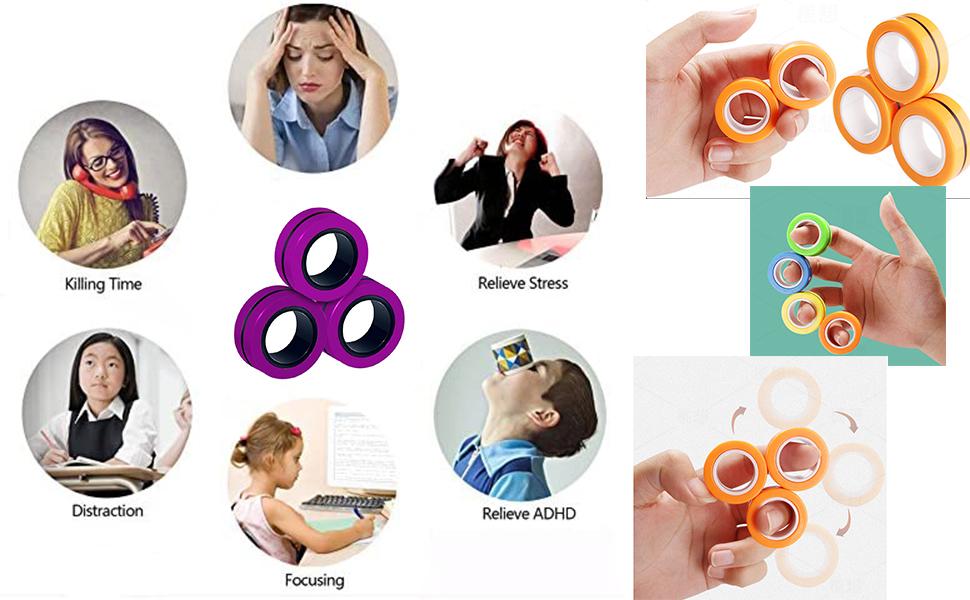 Finger Magnetic Ring, Magnet Toy, Magnetic Fingertip Toys, Decompression Magnetic Magic Ring, Magic