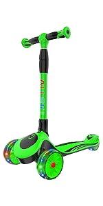 allek kids scooter 3 wheel lightup height adjustable folding F01