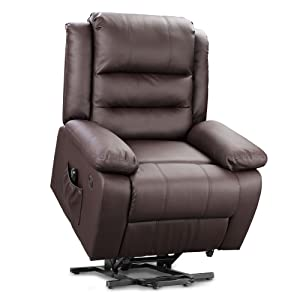 Amazon Com Devaise Okin Dual Motor Power Lift Recliner Chair For Elderly Living Room Sofa Chair With Remote Control 2 Usb Ports Faux Leather Upholstery Dark Brown Furniture Decor