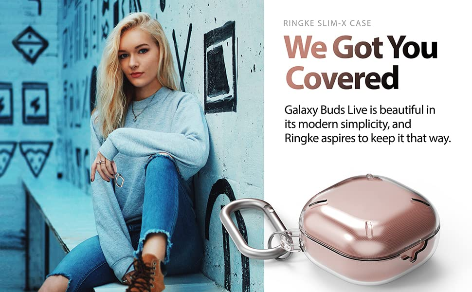 Ringke Slim-X Case Designed for Galaxy Buds Live (2020) with Carabiner