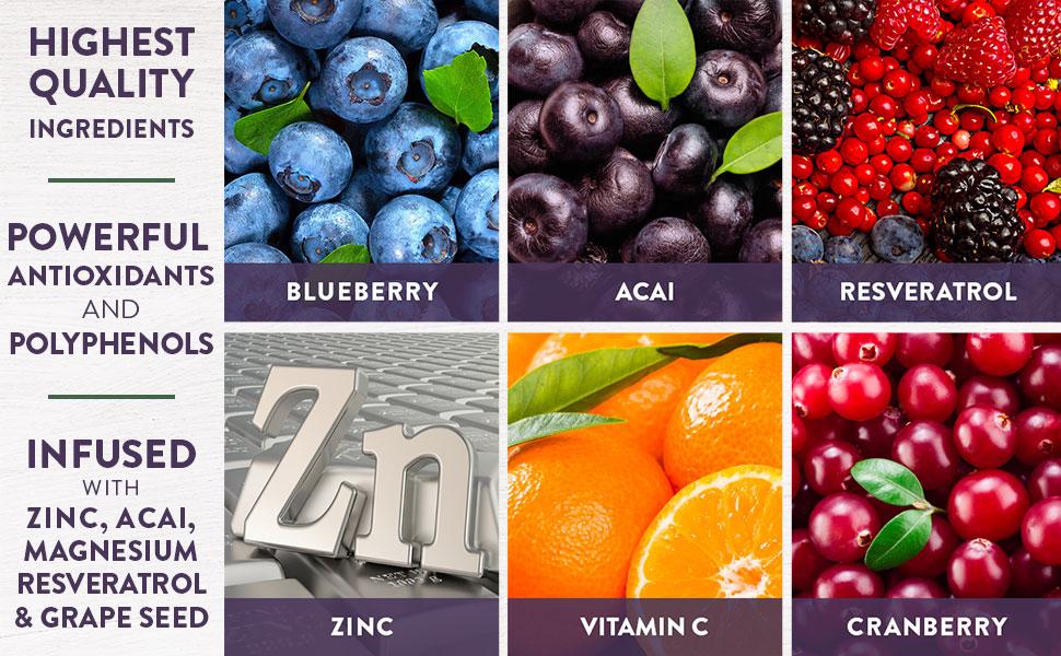 quality, ingredients, resveratrol, acai, grape seed, antioxidants, zinc, magnesium, vitamin c,