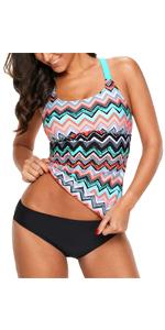 Women Striped Tankini Swimwear