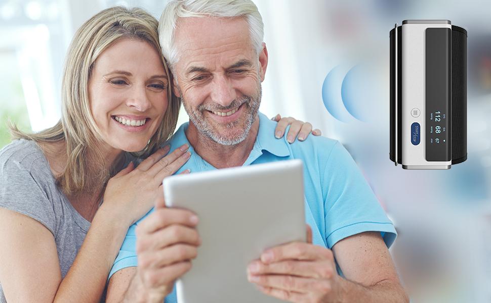 Armfit Tensiomètre Bras Électronique, Tensiomètre Bluetooth Automatique avec Grand Brassard, Tensiomètre Brassard Portable sans Fil APP pour iOS et Android et Apple Health