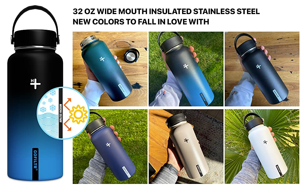 gofiltr alkaline water bottle infuser mineral ionized electrolytes stainless steel vacuum insulated