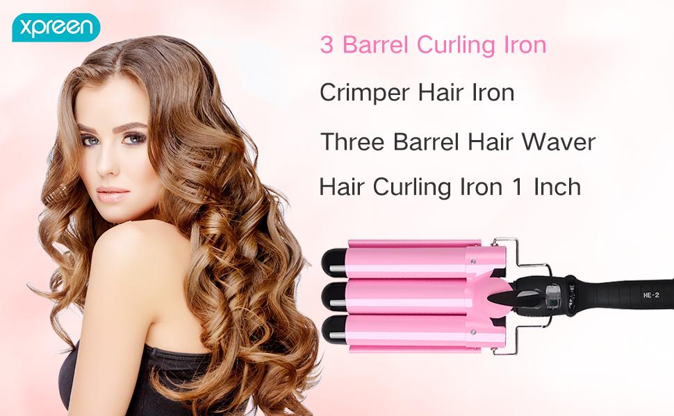 3 Barrel Curling Iron, Xpreen Hair Waver Crimper Hair Iron Beach Waves Hair Curling Iron 1 Inch