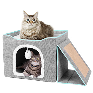 THE 2-IN-1 CAT CAVE BED IS EXTREMELY COMFORTABLE.