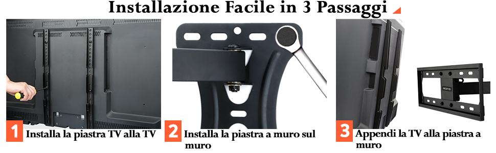 Supporto TV Parete Girevole Inclinabile Staffa TV per Televisori 26 55 Pollici VESA 400x400 PL2432