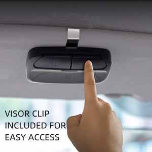Visor clip, battery, and instruction manual are included. It is convenient to use in car.