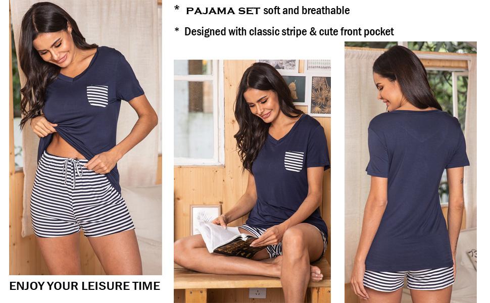 Hotouch Womens Sleepwear Set Soft Comfy Modal Pajamas Set Loungewear