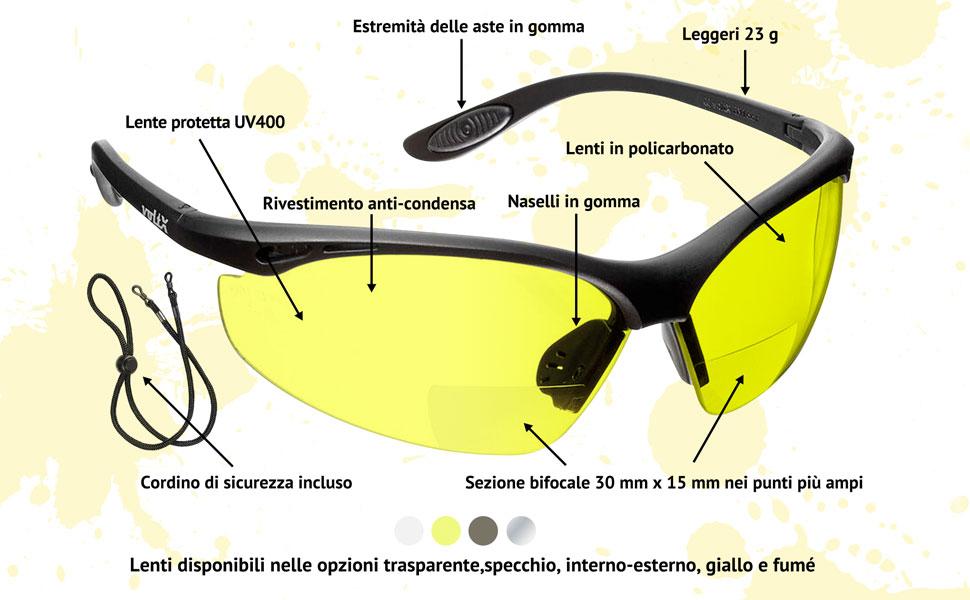 con certificazione CE EN166F//Occhiali da ciclismo cordino di sicurezza incluso GIALLI +1,5 diottrie voltX CONSTRUCTOR Occhiali di sicurezza da lettura BIFOCALI
