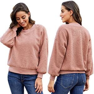 GRAPENT Women's Casual Crewneck Cashmere Sweatshirt Terry Thread Pullover Top