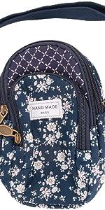 Baumwolle Handystasche Kleingeldtasche 3-Schicht Schultertasche Schlüsseltasche Kartentasche