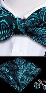 teal self tie and pocket square set