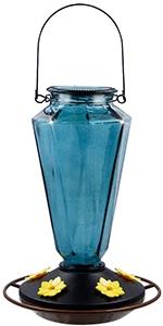 Glass Hummingbird Feeders, Gray-Blue