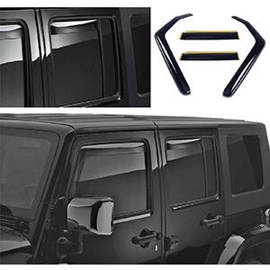 For 2007-2018 Jeep Wrangler JK Unlimited Window Visor Sun Rain Guard Vent Shade
