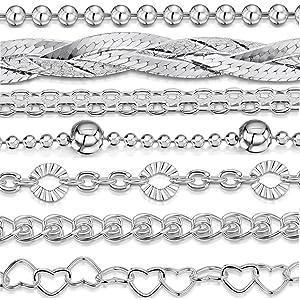 "Amberta 925 Sterling Silver 3.2 mm / 1.1 mm Ball Bead Chain Bracelet Size 7"" 7.5"" 8"" in"