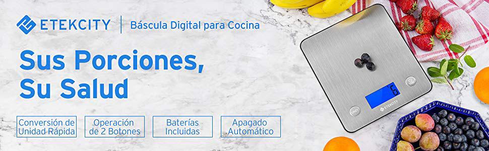 Etekcity Báscula Digital para Cocina, Básculas para Cocina de Acero Inoxidable Electrónicas con un más de 30% Exhibición de Plataforma y Retroiluminación, 11 lb / 5 kg, Diseño Ultra Delgado, Plateado: Amazon.es: