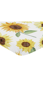 Yellow, Green and White Sunflower Boho Floral Girl Baby Nursery Fitted Mini Portable Crib Sheet