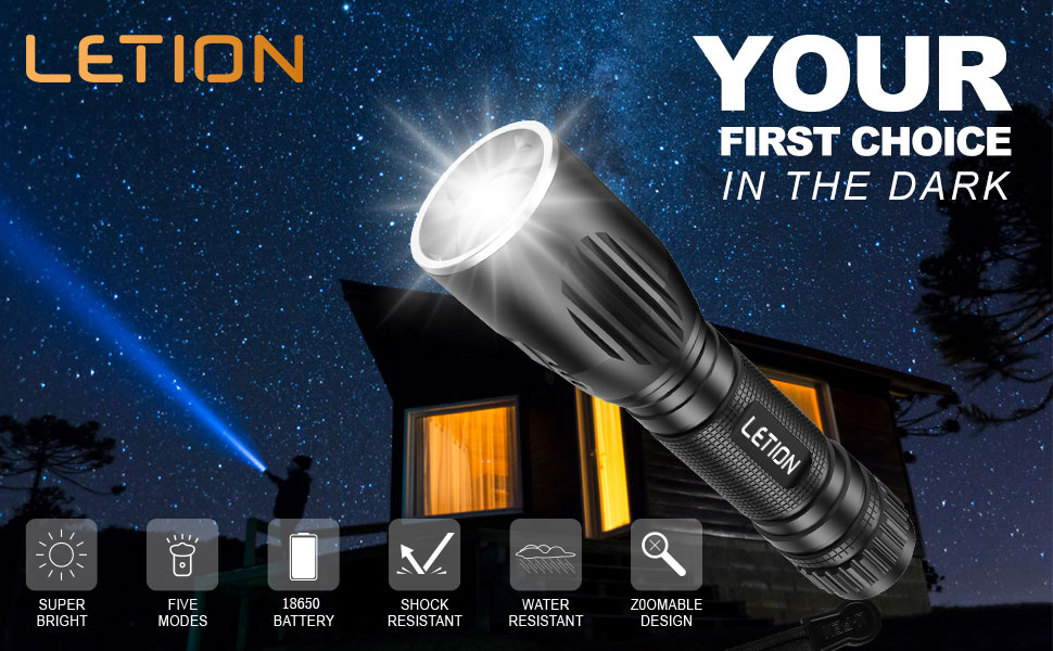 LETION LED Torch Rechargeable Torch Powerful Flashlight 1200 Lumens 2200mAh Mini Torch with 5 Modes Waterproof for Camping Outdoor Dog Walking Night Running